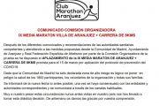 COMUNICADO COMISION ORGANIZADORA IX MEDIA MARATON VILLA DE ARANJUEZ + CARRERA DE 8KMS